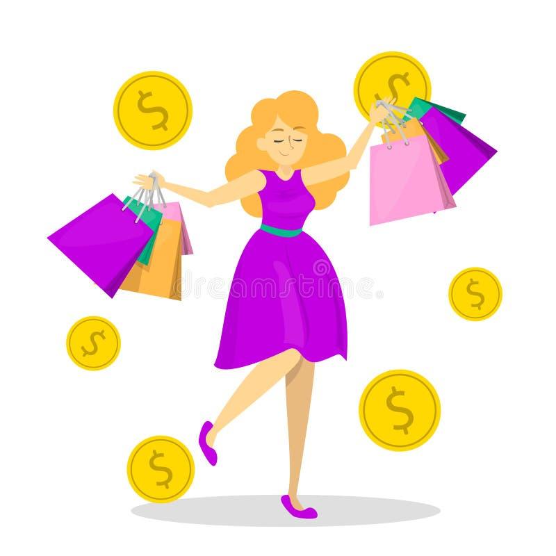 Gelukkige vrouwelijke greep vele het winkelen zakken Shopaholic vector illustratie