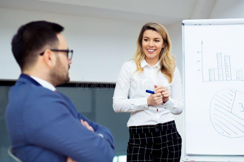 Gelukkige Vrouwelijke Manager Explaining Business Strategy stock afbeeldingen