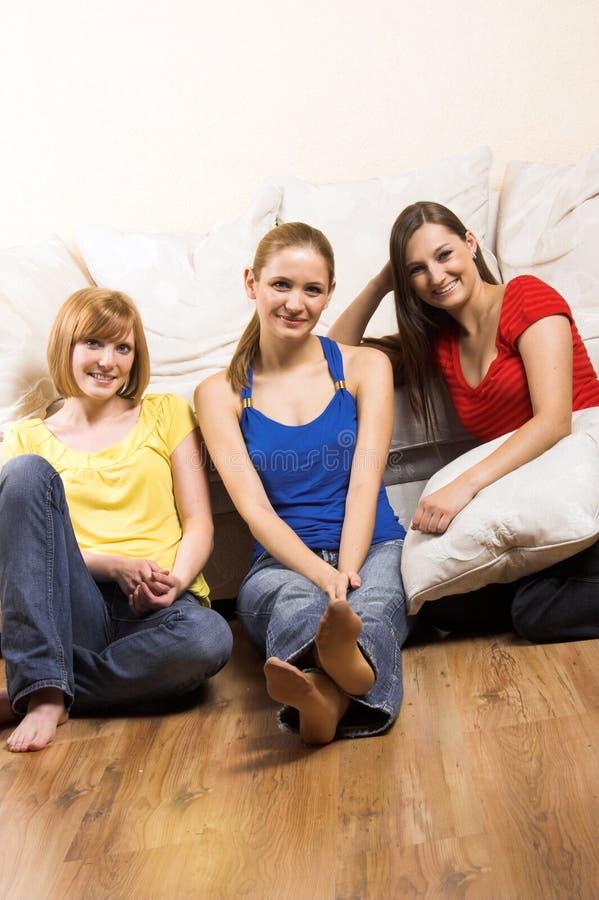 Gelukkige vrouwen in een woonkamer royalty-vrije stock afbeelding
