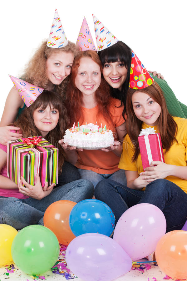 Gelukkige vrouwen met giften en cake royalty-vrije stock afbeeldingen