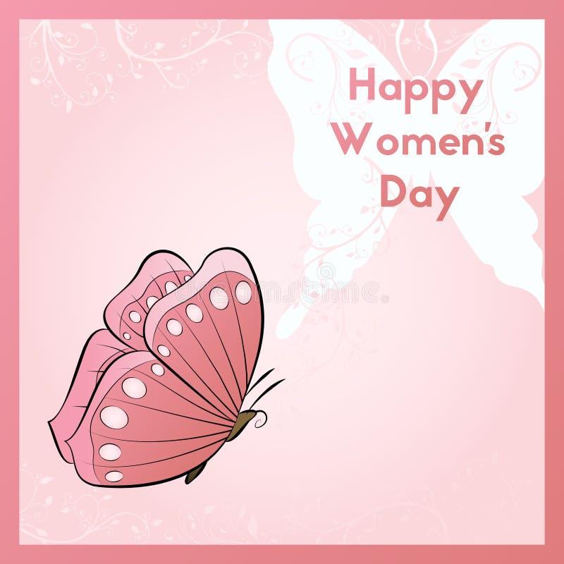 Gelukkige Vrouwen` s Dag Het ontwerp van de uitnodiging voor de gebeurtenis Bloemenornamentenillustratie Decoratie vliegende vlin royalty-vrije illustratie