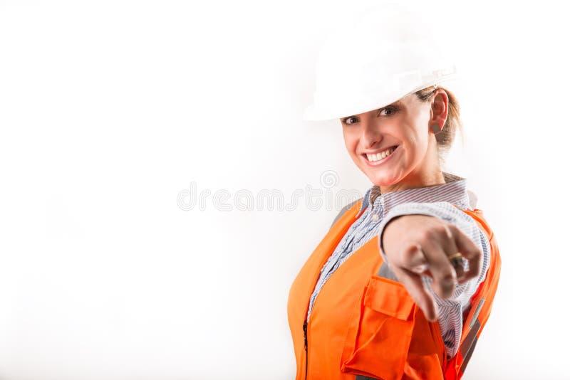 Gelukkige vrouweningenieur stock foto's
