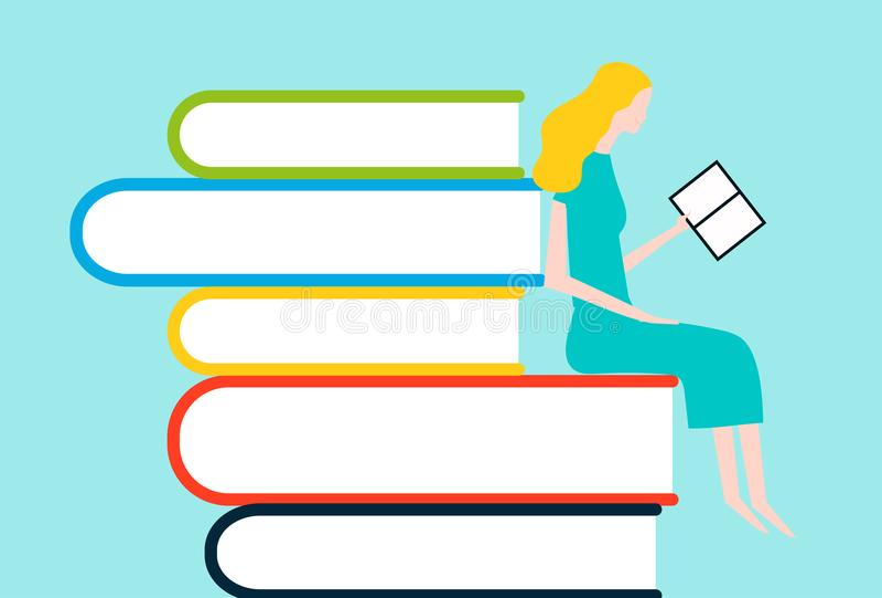 Gelukkige vrouwenlezing op toren van boeken stock illustratie
