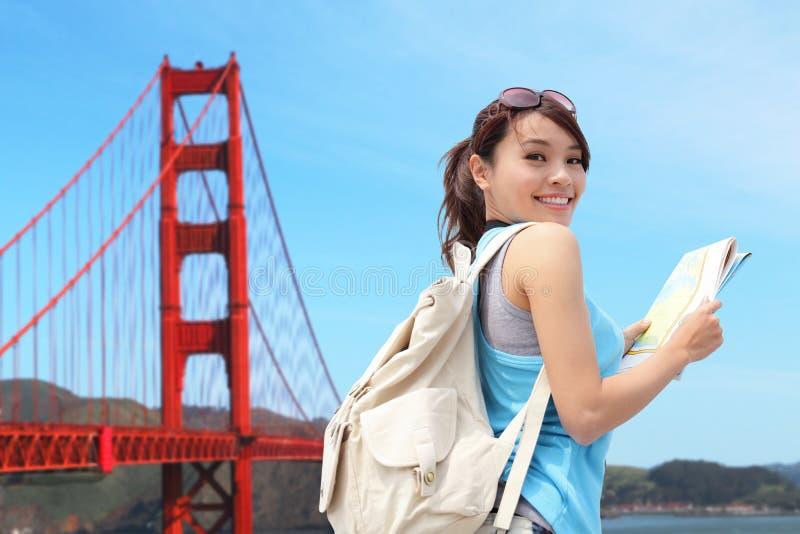 Gelukkige vrouwenreis in San Francisco royalty-vrije stock foto's