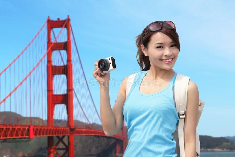 Gelukkige vrouwenreis in San Francisco stock afbeelding