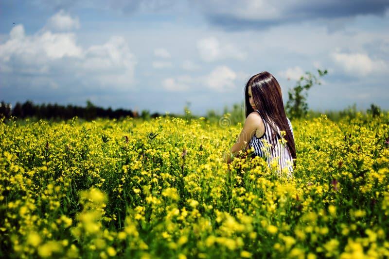 Gelukkige vrouwenzitting op geel zonnig bloemengebied royalty-vrije stock fotografie