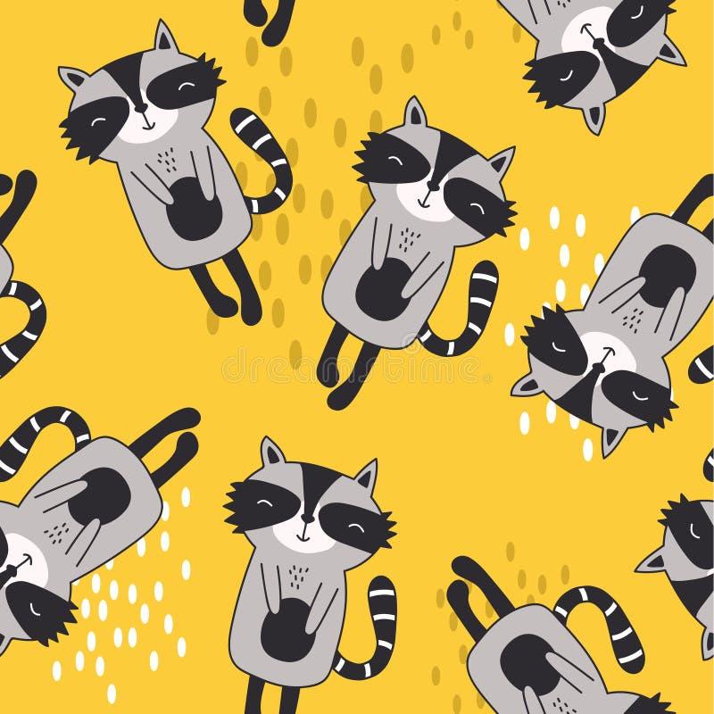 Gelukkige wasberen, kleurrijk naadloos patroon Decoratieve leuke achtergrond met dieren royalty-vrije illustratie