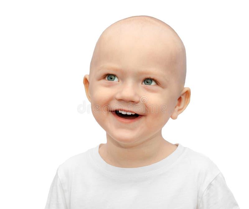 Gelukkige weinig die kindglimlachen op een witte achtergrond worden geïsoleerd stock foto