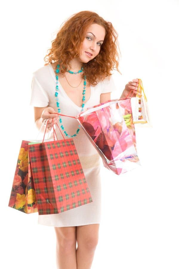 Gelukkige winkelende dame royalty-vrije stock foto