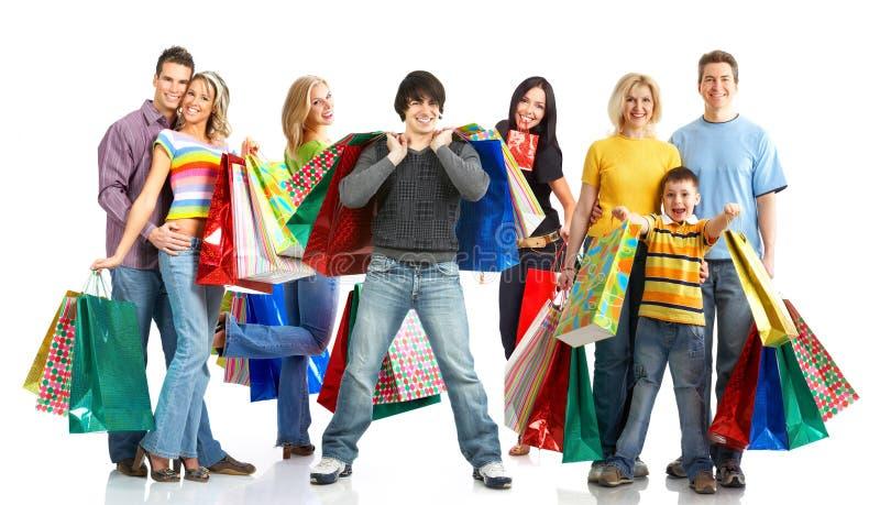 Gelukkige winkelende mensen.