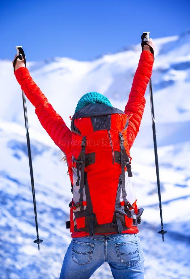 Gelukkige winnaar van de spelen van de de wintersport stock afbeeldingen