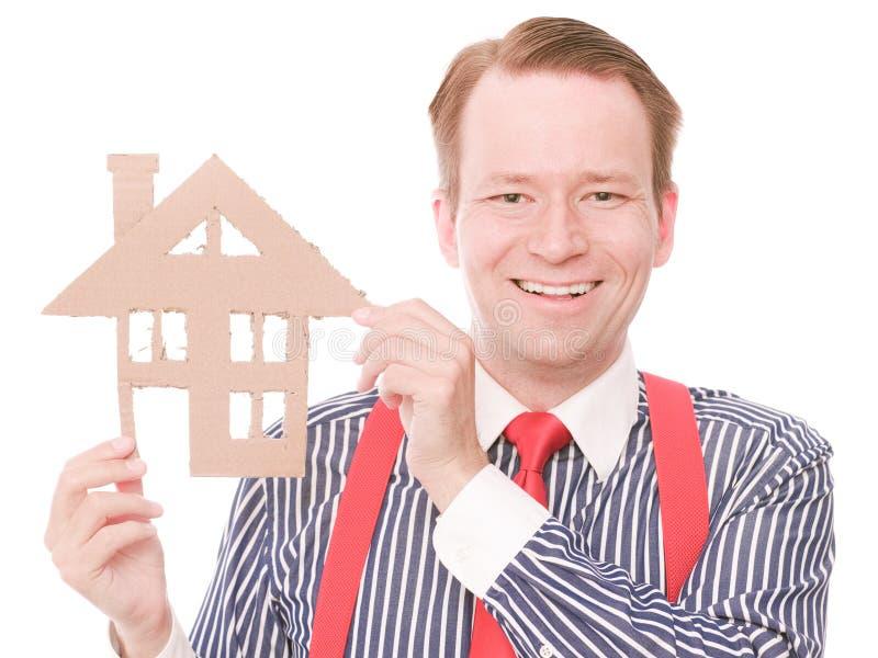 Gelukkige zaken houseowner royalty-vrije stock foto
