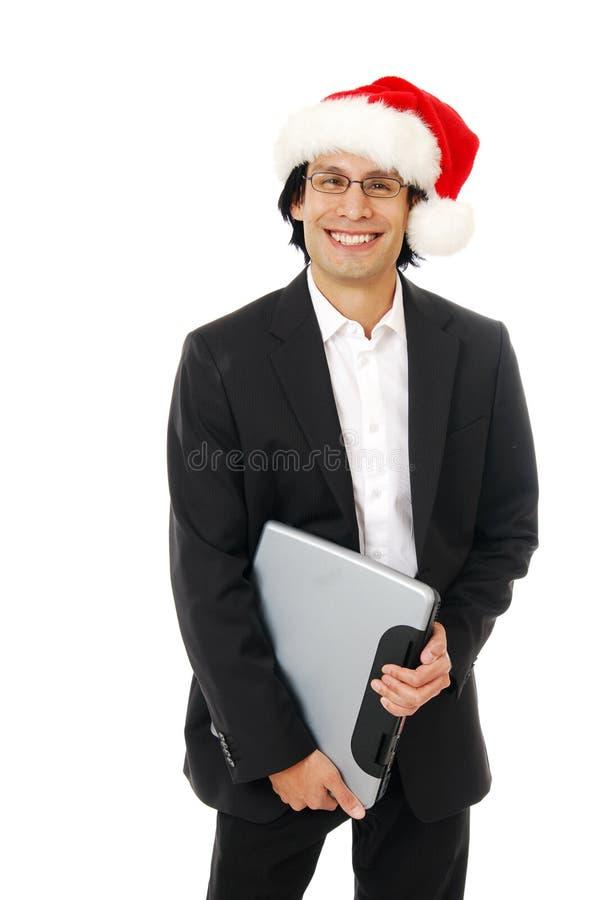 Gelukkige zakenman bij Kerstmis stock afbeeldingen
