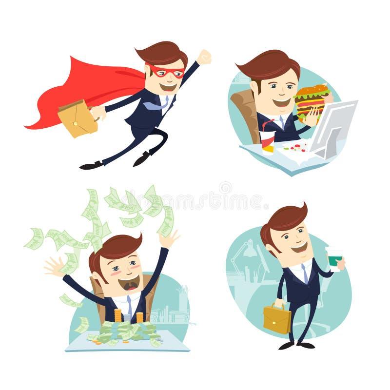 Gelukkige zakenman die geld werpen, sandwich eten en koffie drinken vliegen stock illustratie