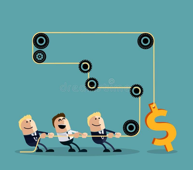 Gelukkige zakenman die kabel met dollar trekken vector illustratie