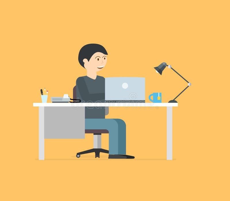 Gelukkige zakenman die met laptop werken Bedrijfsillustratie binnen vector illustratie