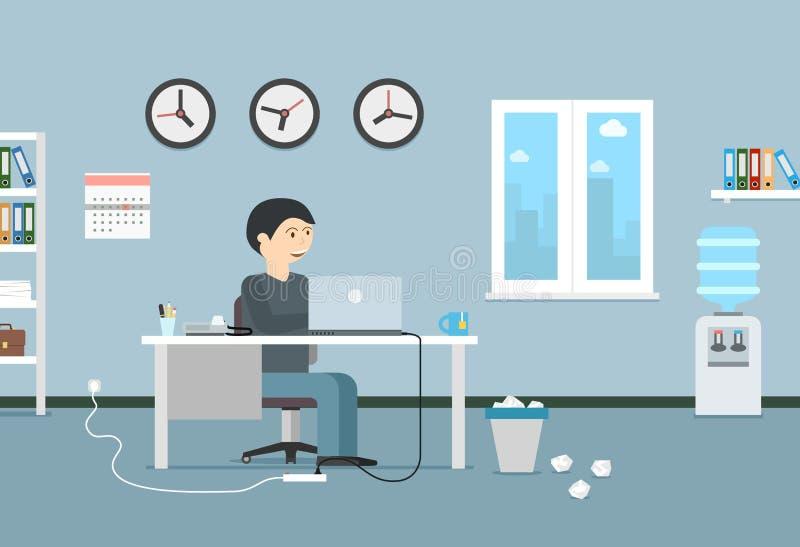 Gelukkige zakenman die met laptop werken Bureaubinnenland en workp stock illustratie