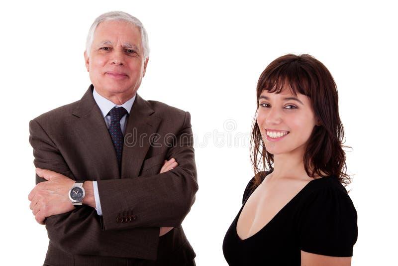 Gelukkige zakenman en vrouw, stock afbeeldingen