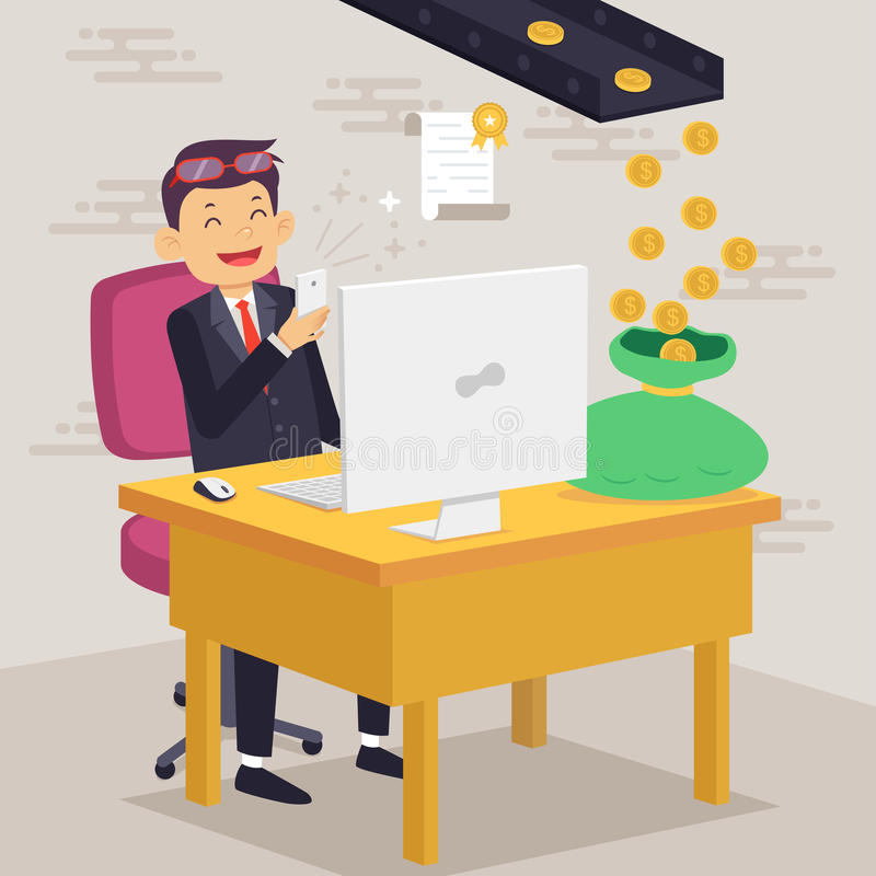 Gelukkige Zakenman Making Money Concept vector illustratie