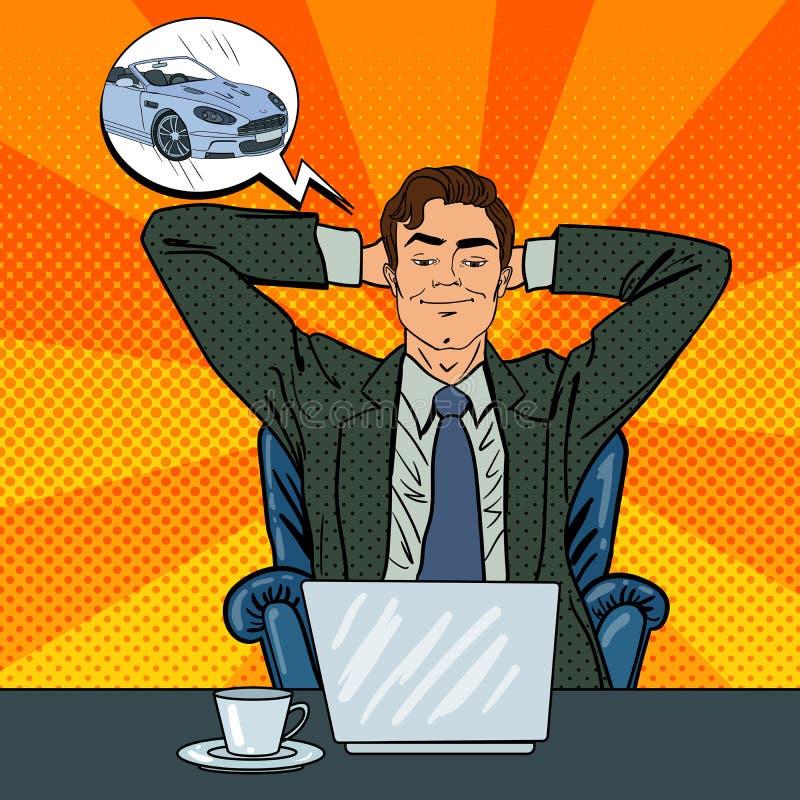 Gelukkige zakenman met laptop Beambte die over Nieuwe Auto dromen royalty-vrije illustratie