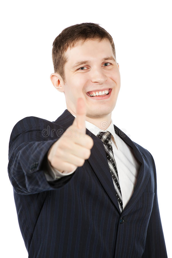 Gelukkige zakenman met omhoog duim royalty-vrije stock foto's