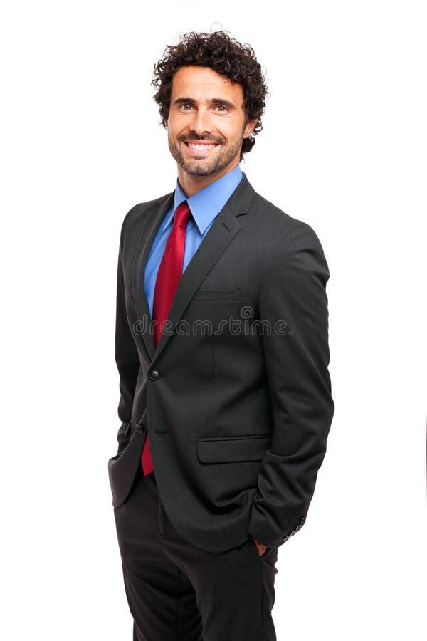 Gelukkige zakenman op witte achtergrond stock foto's