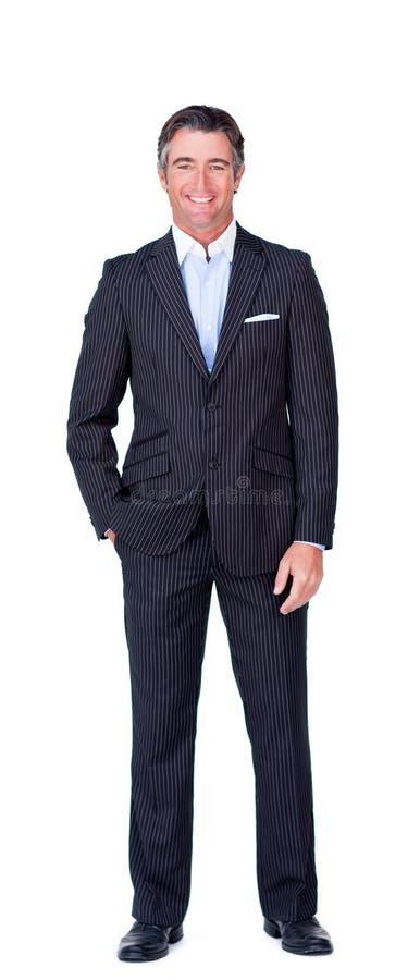 Gelukkige zakenman tegen een witte achtergrond royalty-vrije stock fotografie