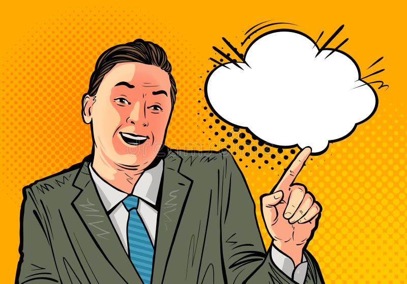 Gelukkige zakenman of werkgever Bedrijfs concept Beeldverhaal vectordieillustratie, in pop-art retro grappige stijl wordt getrokk vector illustratie