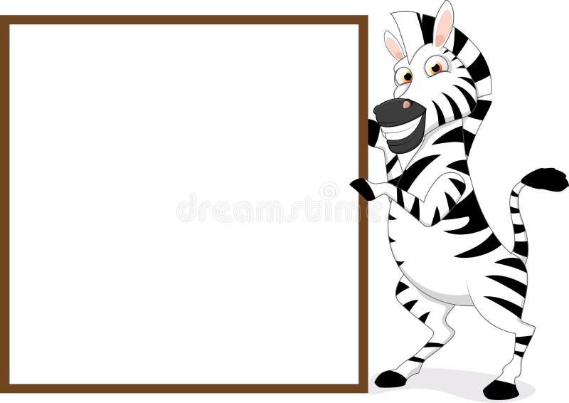 Gelukkige Zebra met houten teken vector illustratie