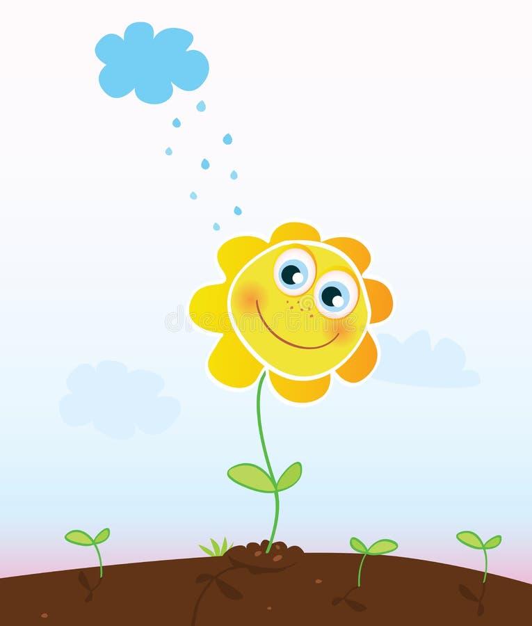 Gelukkige zonnebloem stock illustratie
