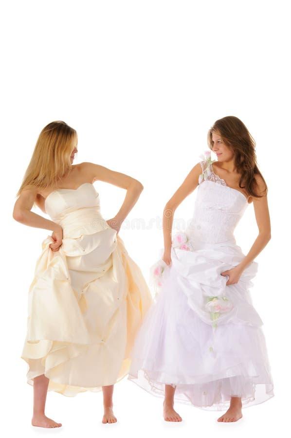 Gelukkige zwangere bruid met meisje royalty-vrije stock foto