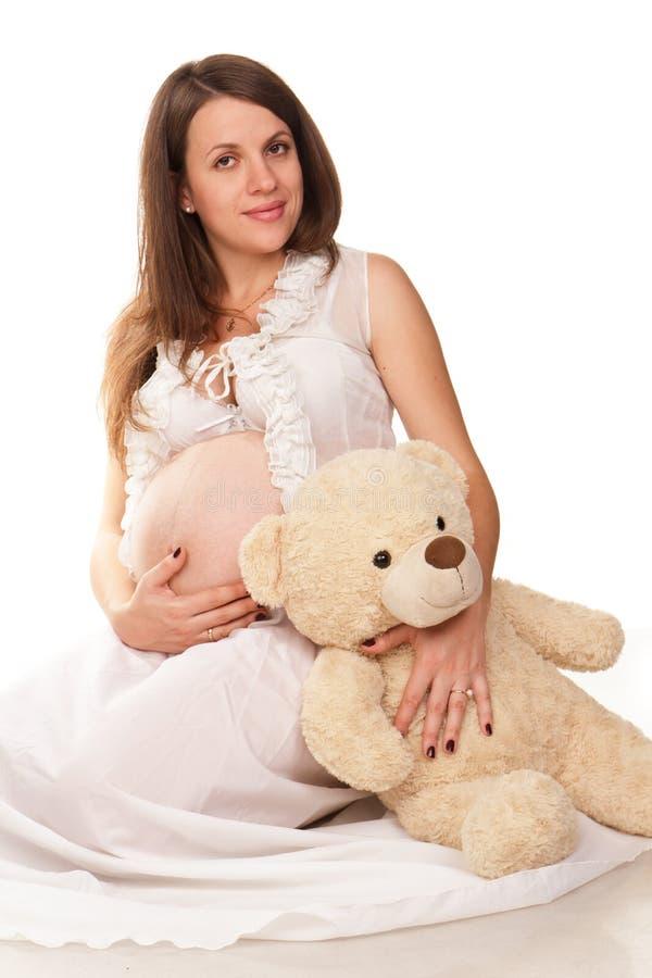 Gelukkige zwangere vrouw royalty-vrije stock afbeeldingen