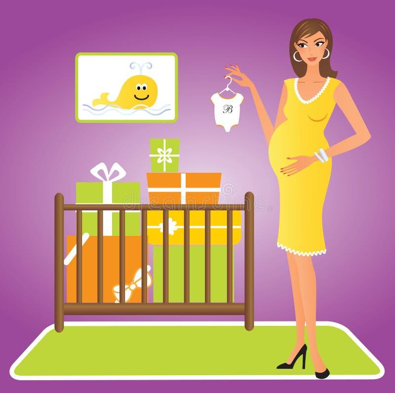 Gelukkige zwangere vrouw royalty-vrije illustratie