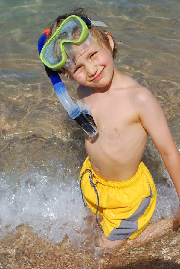 Gelukkige zwemmer stock afbeelding