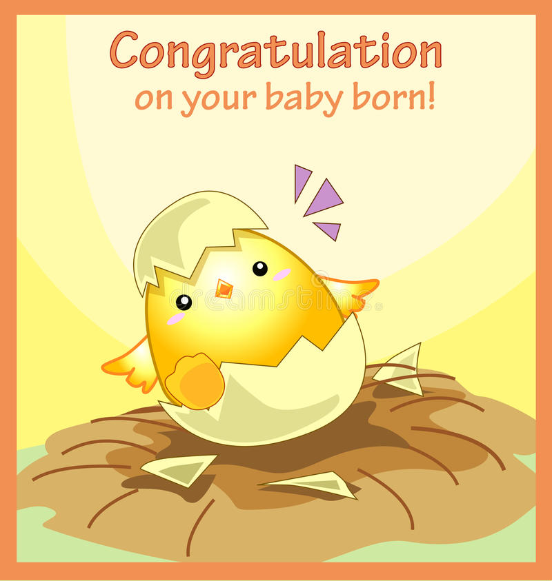 Gelukwens op uw kaart van de baby geboren groet vector illustratie