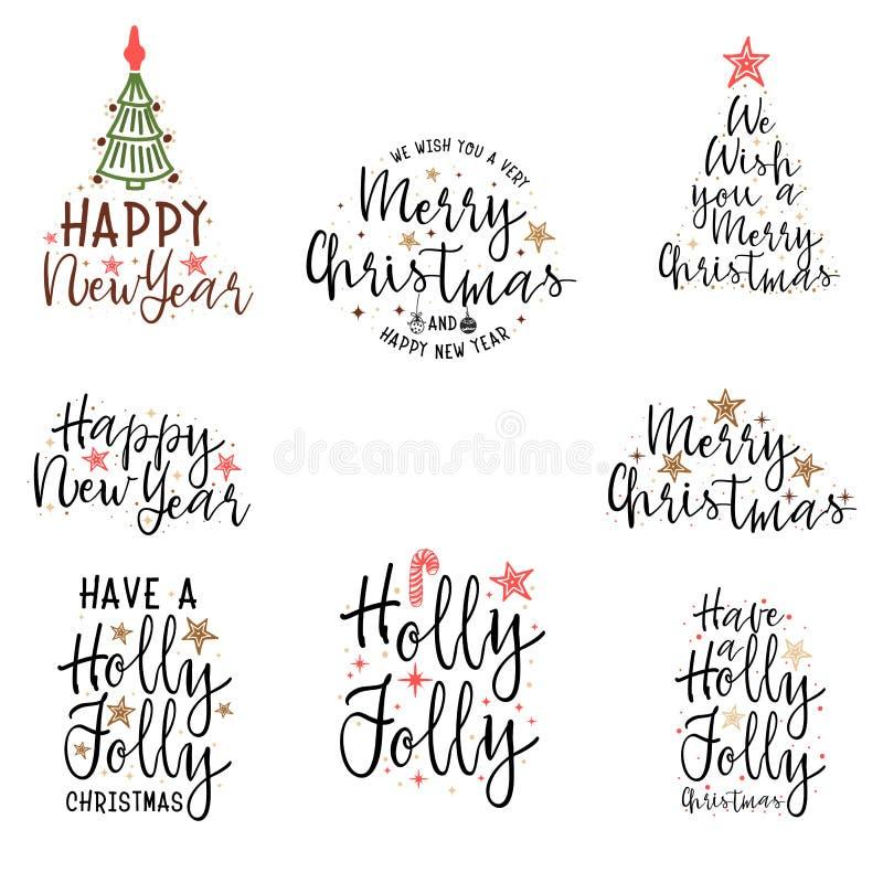 Gelukwensen Gelukkig Nieuwjaar en Vrolijke Kerstmis, kalligrafie voor kaarten, affiches en dekking stock illustratie