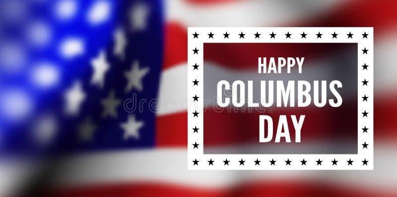 Gelukwensen op de dag van Columbus tegen de achtergrond van de vlag van de Verenigde Staten van Amerika vector illustratie
