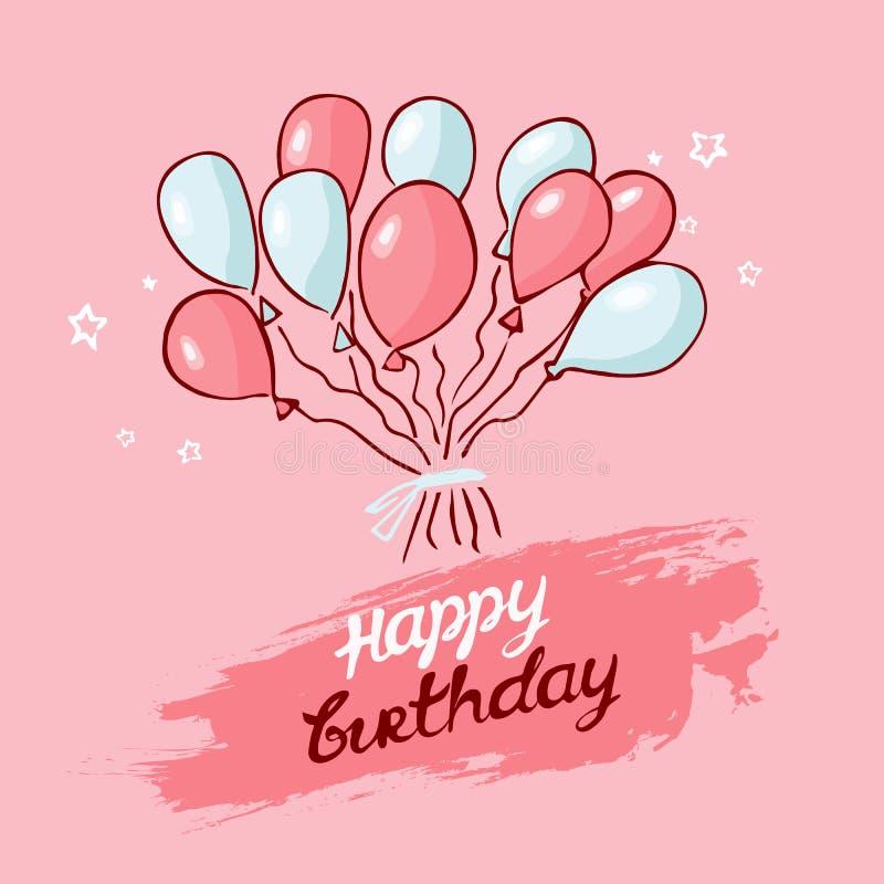 Gelukwensen op de vakantie ballonsroze, blauw op een roze achtergrond Achtergrond met Ballons royalty-vrije illustratie