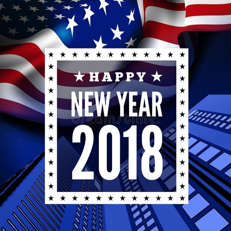 Gelukwensen op nieuwe 2018 tegen de achtergrond van de vlag van Verenigde Staten Vector royalty-vrije illustratie