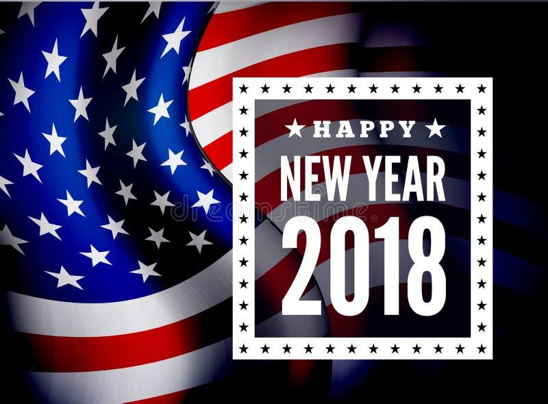 Gelukwensen op nieuwe 2018 tegen de achtergrond van de vlag van Verenigde Staten Vector vector illustratie
