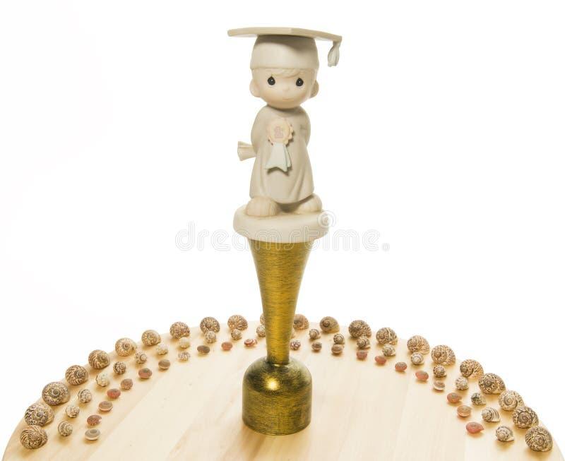 Gelukwensentrofee met overzeese shell halve cirkel royalty-vrije stock foto