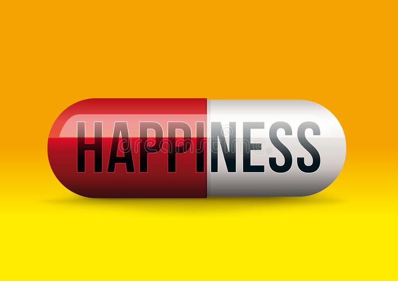 To be happily artificial with a capsule symbolizing the magic cure for happiness stock illustration