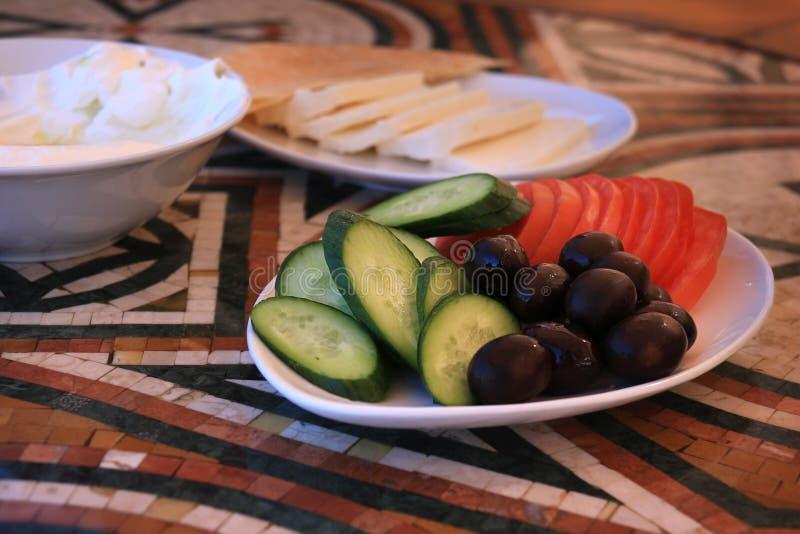 Gemüse überzieht vom libanesischen Frühstück lizenzfreies stockbild