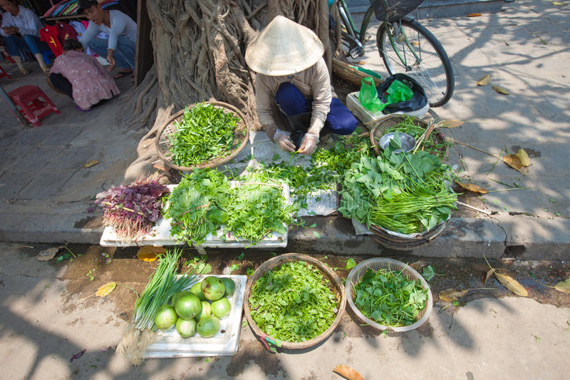 Gemüse für Verkauf auf dem Markt in Hoi An stockbild