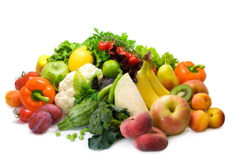 Gemüse, Frucht und würzige Kräuter lizenzfreie stockfotografie