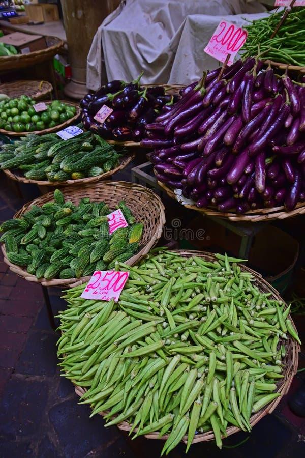 Gemüse im Verkauf in zentralem Markt Port Louis, Mauritius stockfoto