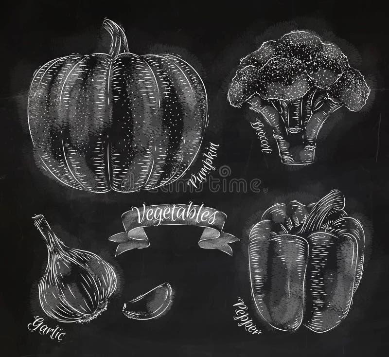 Gemüse pfeffert, Kürbis, Knoblauch, Brokkolikreide lizenzfreie abbildung