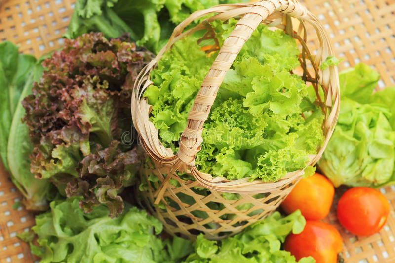 Gemüse Salat und Tomate im Korb stockfotografie