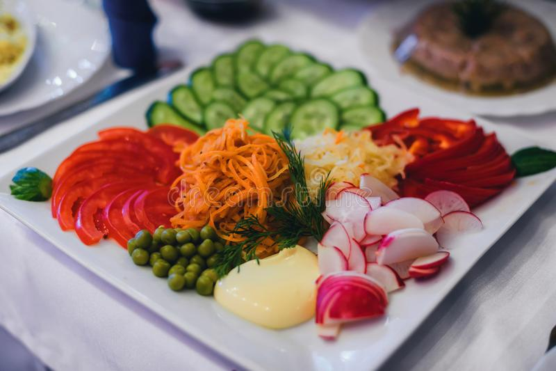 Gemüse sortiert für eine gesunde vegetarische Mahlzeit Platte mit Tomaten, Pfeffer, Karotten, Gurke stockbild