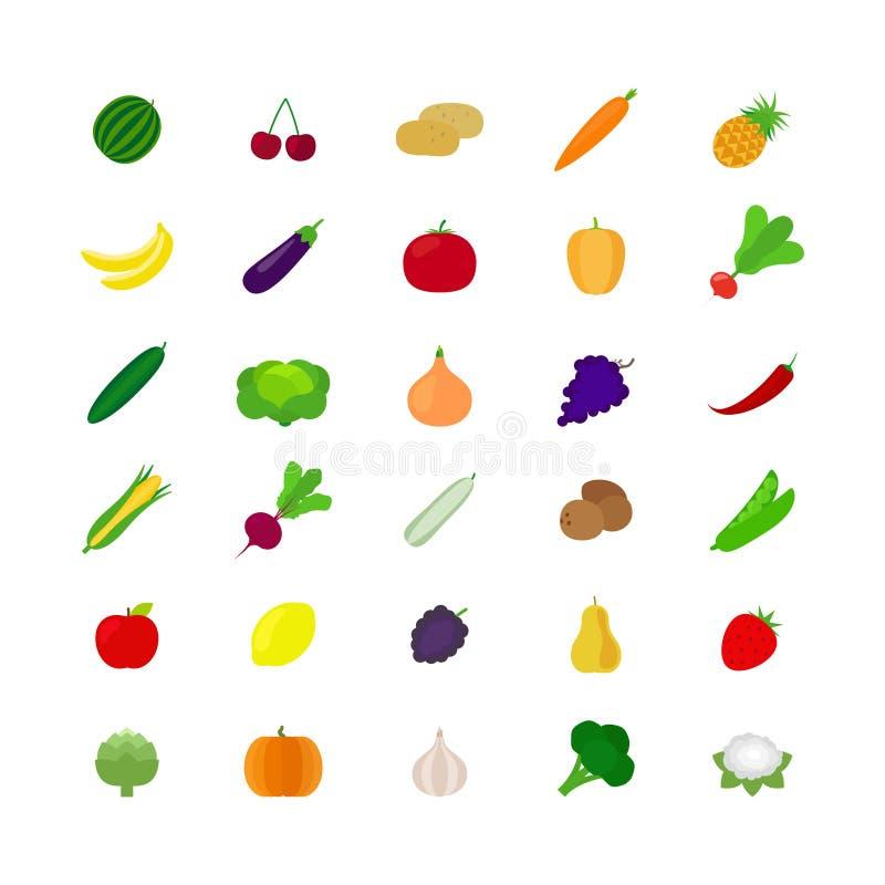 Gemüse und flache Ikonen der Frucht vektor abbildung